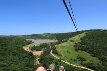 Long, high zip line