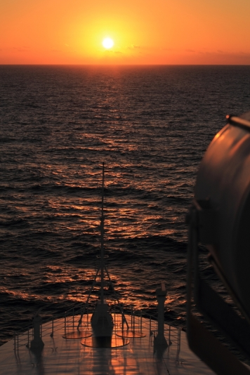 Sunrise off the bow