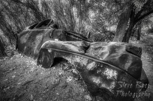 Antique car wreck BW Fine art version