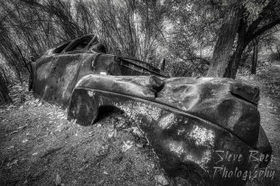 Antique car wreck BW Fine art version